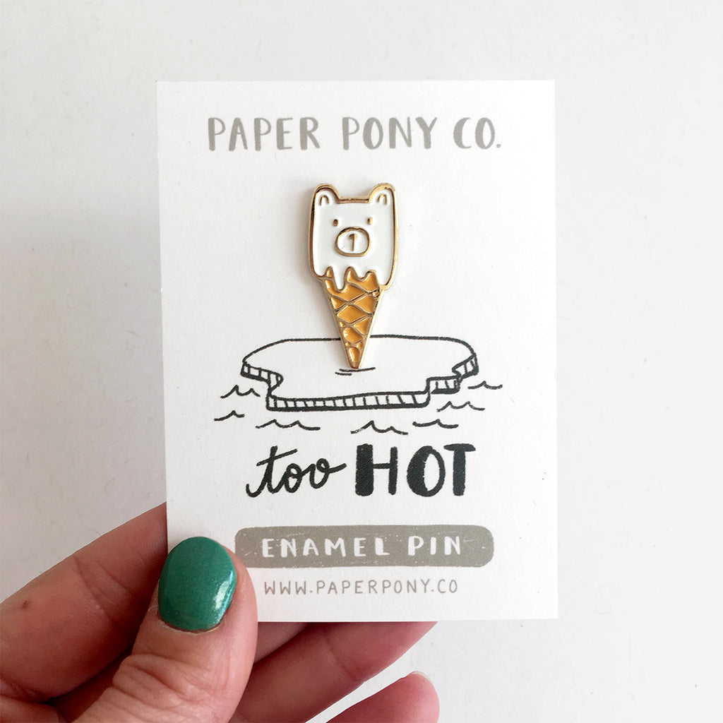 Polar Bear Cone Enamel Pin, Enamel Pins - Paper Pony Co.