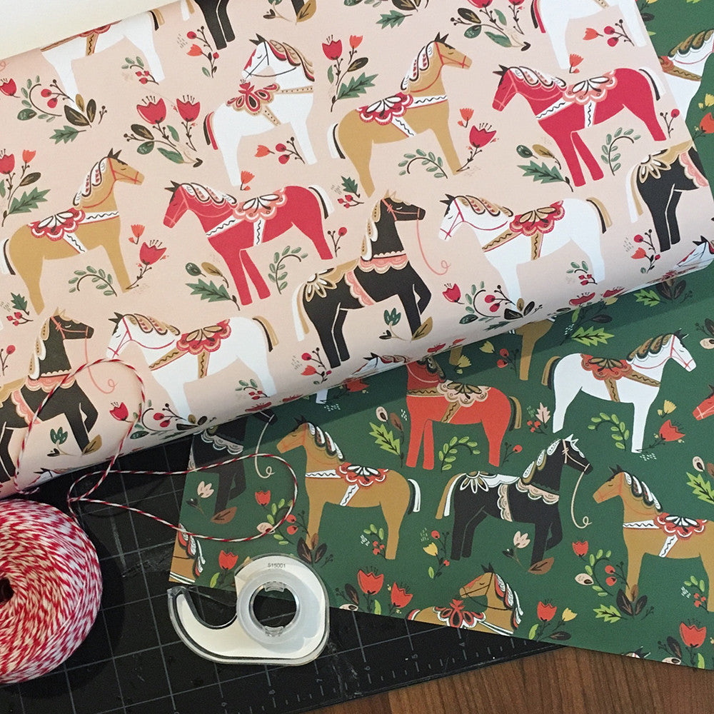 Dala Pony Gift Wrap in Blush, Gift Wrap - Paper Pony Co.
