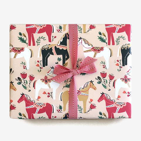 Dala Pony Parade Gift Wrap - Blush, Gift Wrap - Paper Pony Co.