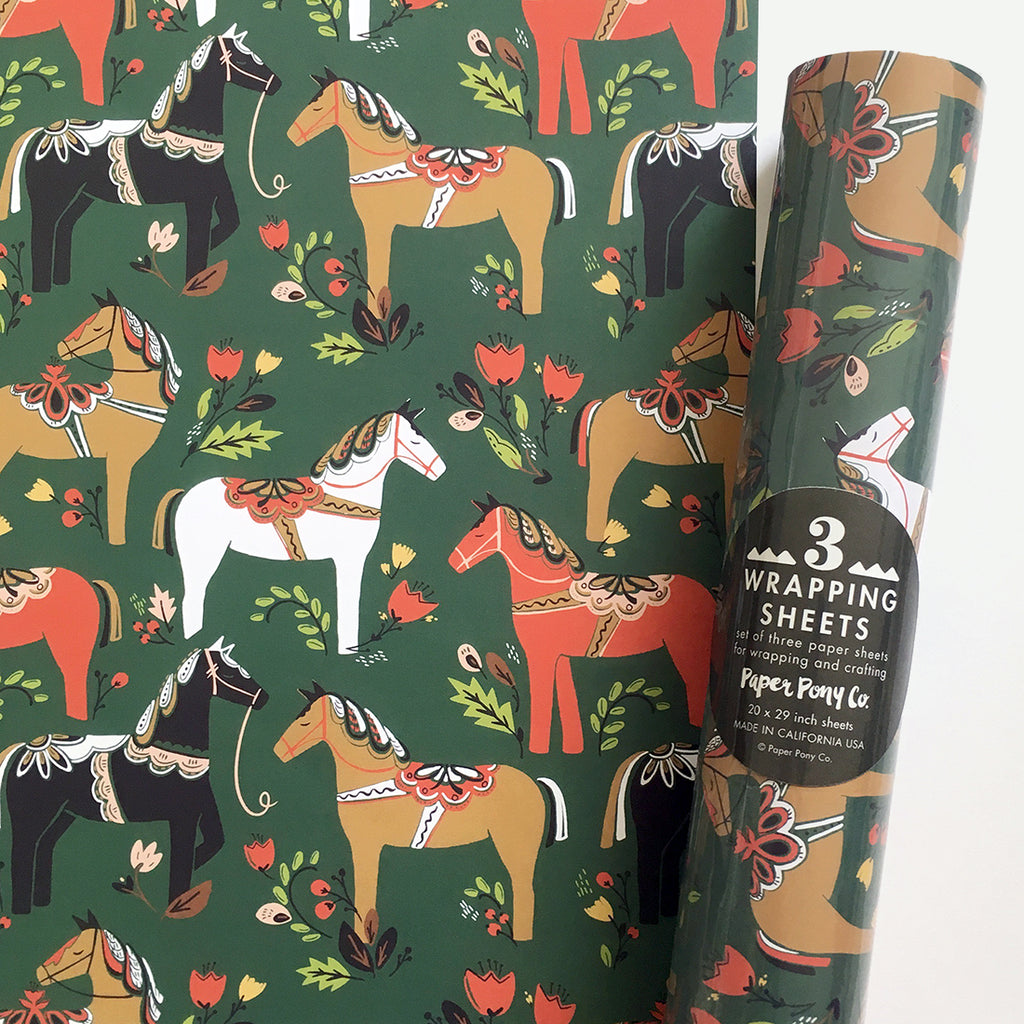 Dala Pony Gift Wrap in Pine, Gift Wrap - Paper Pony Co.