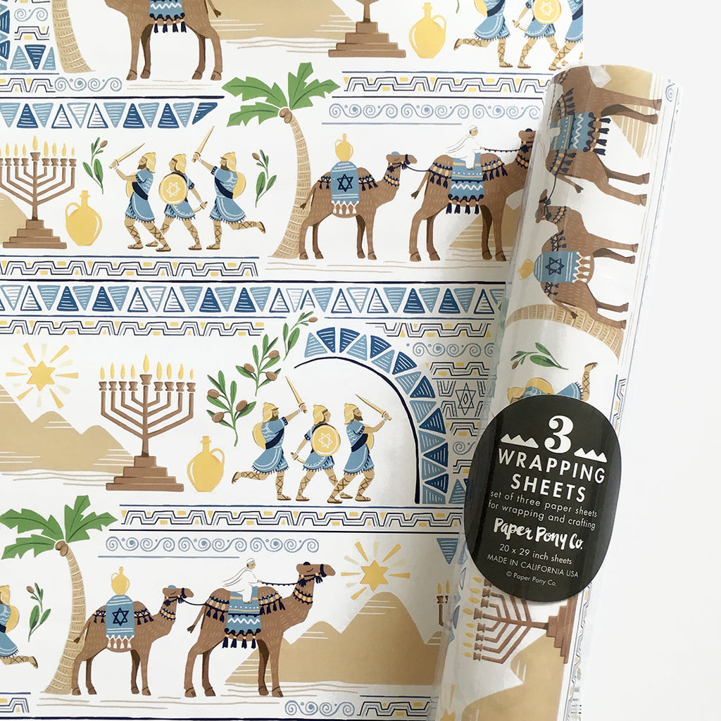 Hanukkah Story Gift Wrap, Gift Wrap - Paper Pony Co.