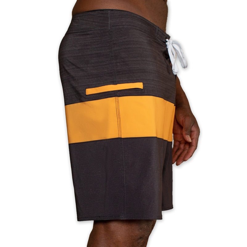 Dakar Board Short - Black and Yellow