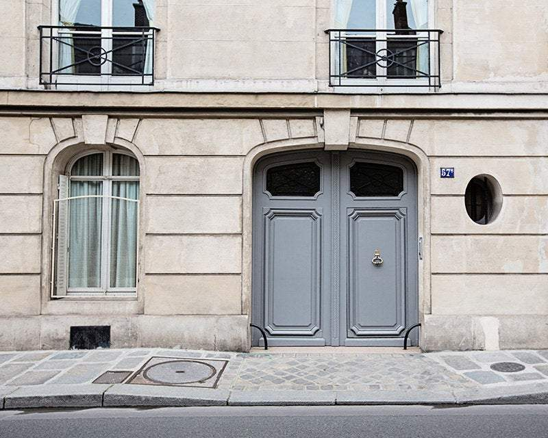 Paris Gray Door Photograph Wall Art Print