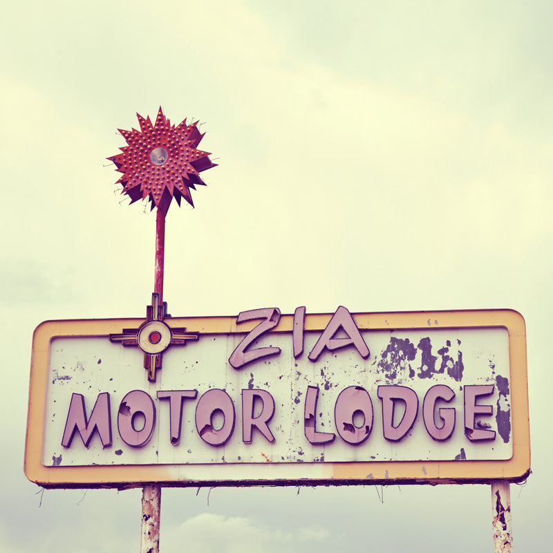 Retro Zia Motor Lodge Motel Sign Wall Art Print