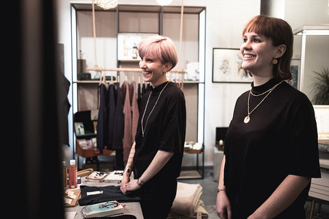 "Owner Janna and her collegue Sophie at the fair fashion shop ""Weltherz"" in Landau."