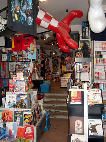 Inside of the comic and book store Modern Graphics in Berlin, Kreuzberg