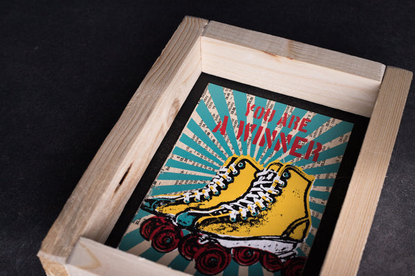 Roller skate original print with frame S
