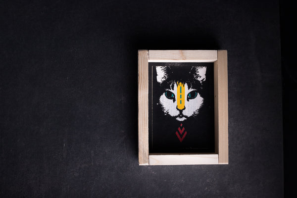 Cat original print with frame S