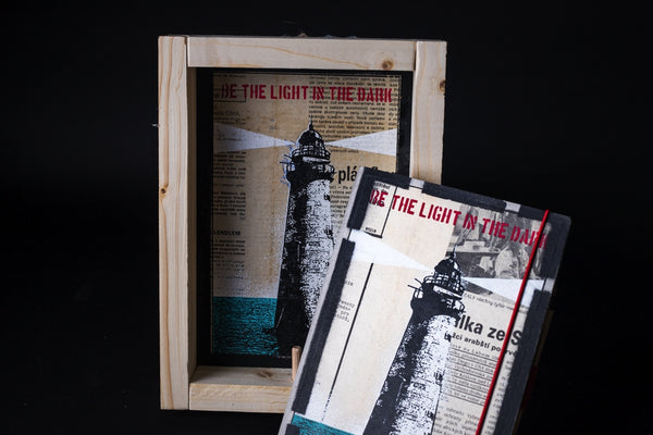 Lighthouse - medium notebook with frame