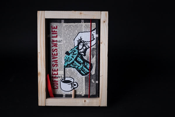 Coffee saves my life - medium notebook with frame