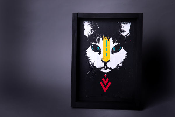 Cat original print with frame XL