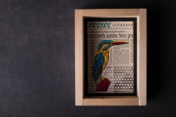 Kingfisher - medium notebook with frame