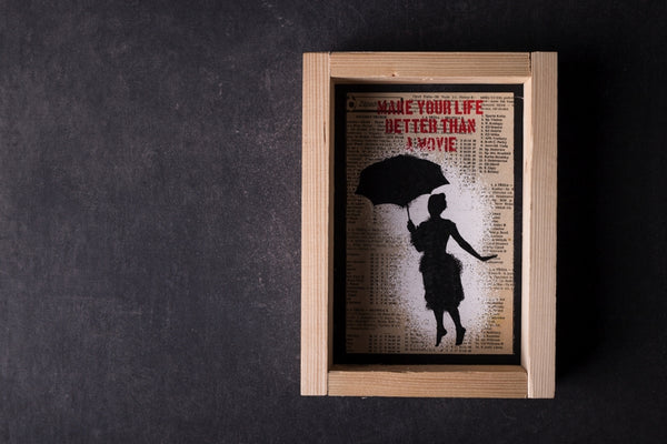 Flying umbrella - medium notebook with frame