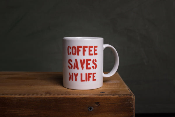 Coffee saves my life porcelain cup with HANDLE - L (wh)