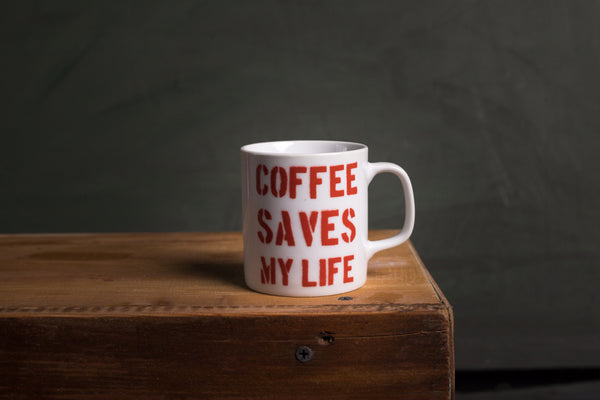 Coffee saves my life porcelain cup with HANDLE - S (kuba)