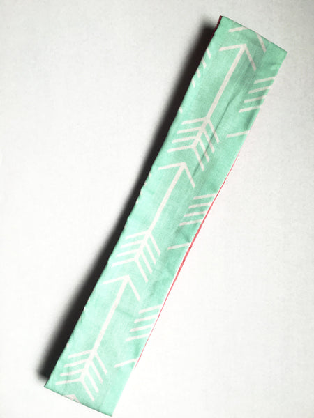 Mint & Coral Arrows Reversible Headband - Thepinkstore.com - 1