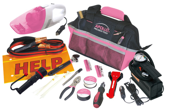 54 Piece Roadside Toolkit with Air Compressor and Car Vacuum Cleaner by Apollo - Thepinkstore.com - 1