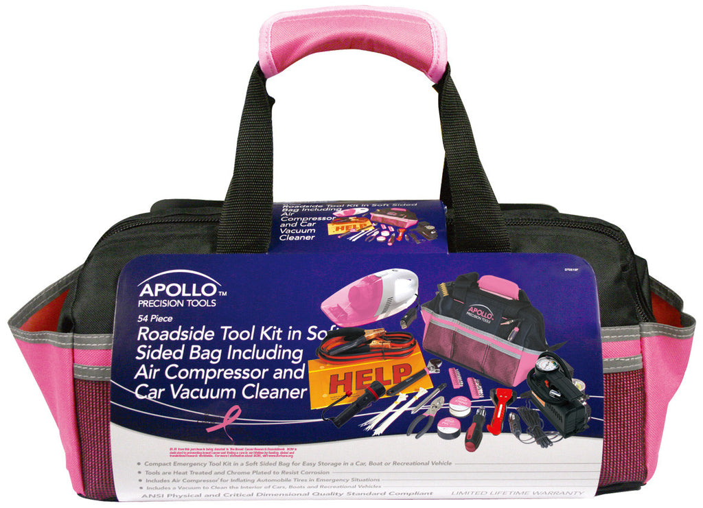 54 Piece Roadside Toolkit with Air Compressor and Car Vacuum Cleaner by Apollo - Thepinkstore.com - 2