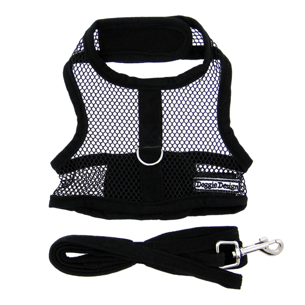 Solid Black Cool Mesh Dog Harness with Matching Leash - Thepinkstore.com - 2