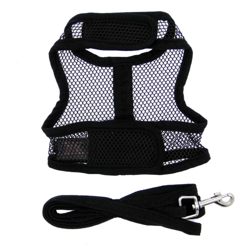 Solid Black Cool Mesh Dog Harness with Matching Leash - Thepinkstore.com - 3