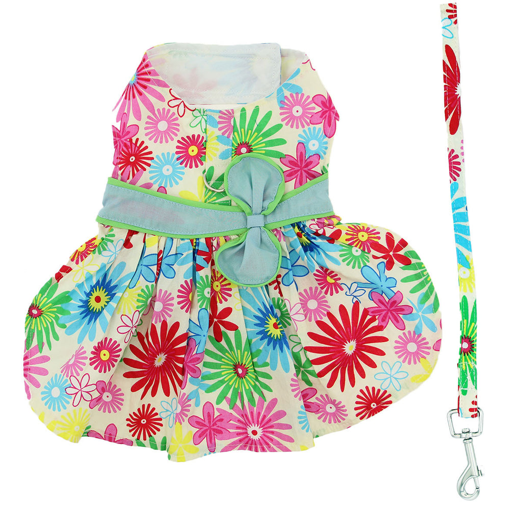 Tuscany Flower Print Dog Dress with Matching Leash - Thepinkstore.com - 2
