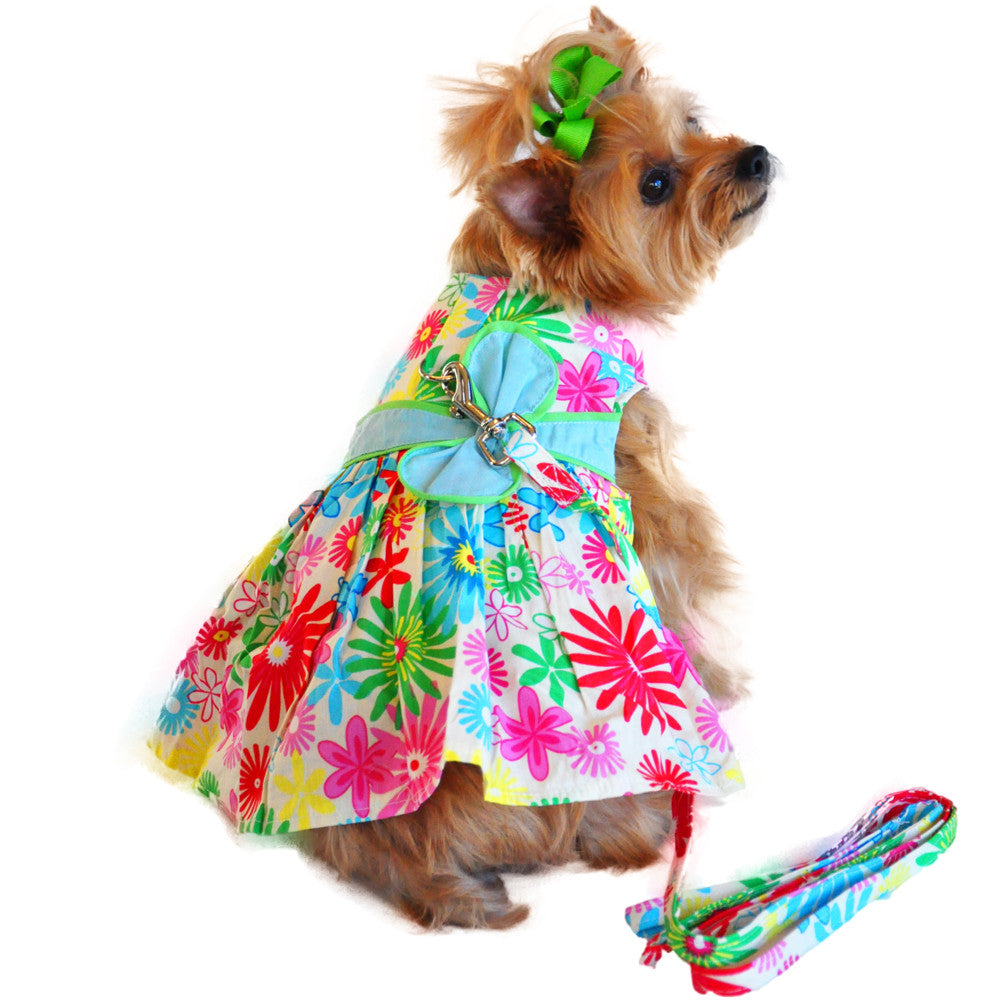 Tuscany Flower Print Dog Dress with Matching Leash - Thepinkstore.com - 1