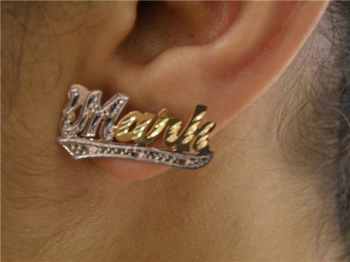 14k Gold Overlay Stud Name Earrings