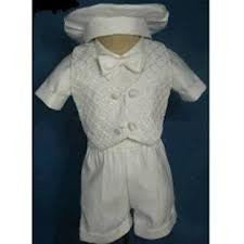 Baby Boy toddler Christening Baptism white outfit with hat /XS/S/M/L/XL/0-3M/3-6M/6-12M/12-18M/18-24M/XSMALL/SMALL/MEDIUM/LARGE/X LARGE/b3 - myfamilystore