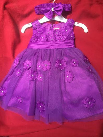 Baby Flower Girls Christening Baptism Gown Dress and headband size 6M-9M-12M-18M-24M-2T-3T-4T /#2203 PURPLE - myfamilystore