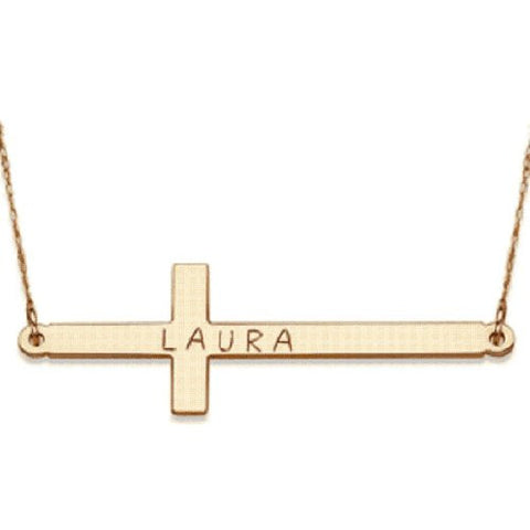 18k Gold Plated Personalized Mini Cross Bar Engraved Any Name Necklace - myfamilystore