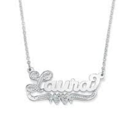 Personalized Silver 925 Any Name Plate Necklace/birthday Christening Gift/s2 - myfamilystore
