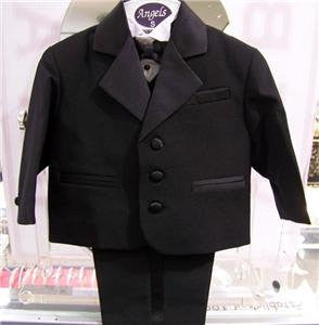 Toddler Baby Boy BLACK Tuxedo bowtie suit Christening Baptism wedding 2t/3t/4t - myfamilystore