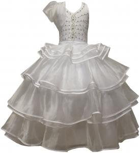 WHITE COMMUNION PAGEANT GOWN WEDDING PARTY FLOWER GIRL DRESS , 8 ,10,12,14,16,18 /#5502 - myfamilystore