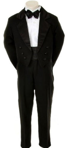 Toddler Baby Black Tail Bowtie Tuxedo Suit Wedding Size L / Large/12-18 Months - myfamilystore