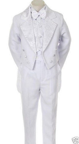 Toddler Baby White Tail Bowtie Tuxedo Suit Wedding Size S/small/3-6 Months /#Tail - myfamilystore