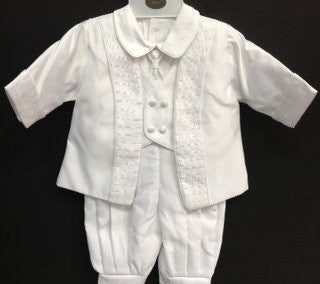 Baby Boy toddler Christening Baptism white outfit with hat /XS/S/M/L/XL/0-3M/3-6M/6-12M/12-18M/18-24M/XSMALL/SMALL/MEDIUM/LARGE/X LARGE/b16 - myfamilystore