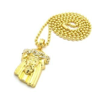 "Micro Jesus Pendant in Gold Tone w/ 3mm 27"" Ball Chain - myfamilystore"