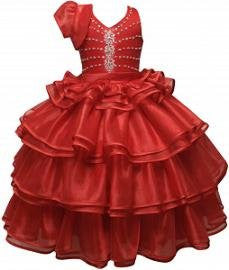 RED COMMUNION PAGEANT GOWN WEDDING PARTY FLOWER GIRL DRESS 1,2,3,4,5,6, 8 /#5502 - myfamilystore