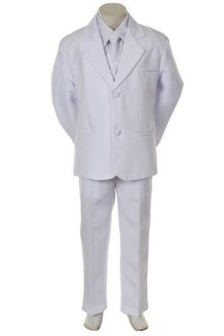 Toddler Baby Boy White Tuxedo Tie Suit Wedding Size L / Large /12-18 Months - myfamilystore