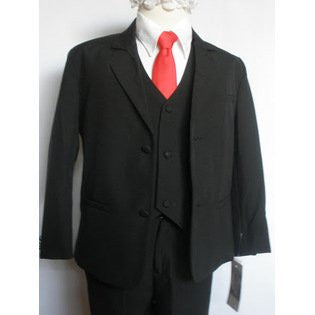 Toddler Baby Boy BLACK red tie Tuxedo suit Christening Baptism wedding /S/M/L/XL/2T/3T/4T/#red tie - myfamilystore