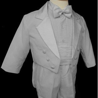 Toddler Baby Boy white tail bow tie Tuxedo suit Christening Baptism wedding/SMALL/MEDIUM/LARGE/EXTRA LARGE/3-6 m/6-12 M/12-18 M/18-24-M/S/M/L/XL/2t/3t/4t/#tailbowtie - myfamilystore