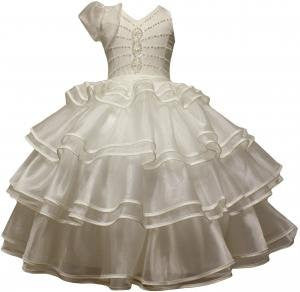 BEIGE COMMUNION PAGEANT GOWN WEDDING PARTY FLOWER GIRL DRESS 1,2,3,4,5,6, 8 /#5502 - myfamilystore