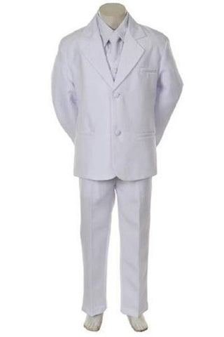 Toddler Baby Boy White Tie Tuxedo Suit Christening Wedding Size M/6-12 Months/Medium - myfamilystore