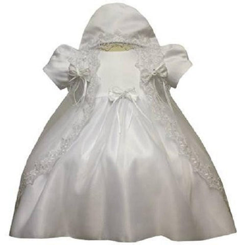 Baby-girls White Flower Girl Christening Dress Sizes S to 2t#5421 - myfamilystore