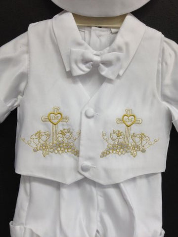 Baby Boy toddler Christening Baptism white outfit with hat /S/M/L/XL/3-6M/6-12M/12-18M/18-24M/SMALL/MEDIUM/LARGE/X LARGE/GOLD CROSS - myfamilystore