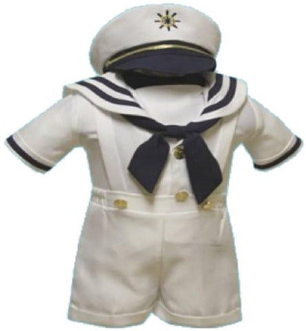 Baby Boy Christening Sailor Dress Outfit Sizes Xs-s-m-l-xl /#2044 White - myfamilystore