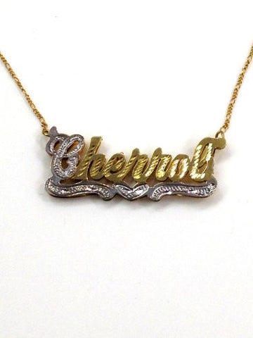 Personalized 14k Gold Overlay 3d Double Any Name Plate Necklace/z2 - myfamilystore