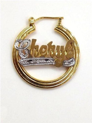 14k Gold Overlay 1 1/4 Inch Personalized Any Name Earrings /Gifts Idea/e2 - myfamilystore