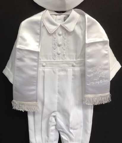 Baby Boy toddler Christening Baptism white outfit with rope /XS/S/M/L/XL/0-3M/3-6M/6-12M/12-18M/18-24M/XSMALL/SMALL/MEDIUM/LARGE/X LARGE/a2 - myfamilystore