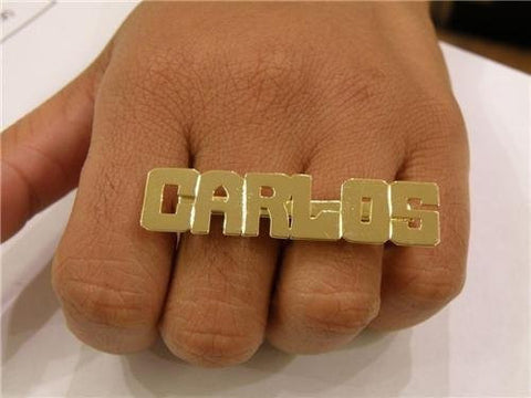 Personalized 14k gold overlay any name 2 finger Rings/two finger name ring/Gift/a2 - myfamilystore